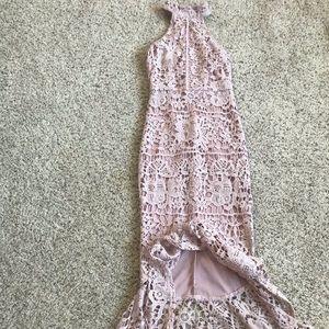 Pink Lace high neck fish tail Midi Dress
